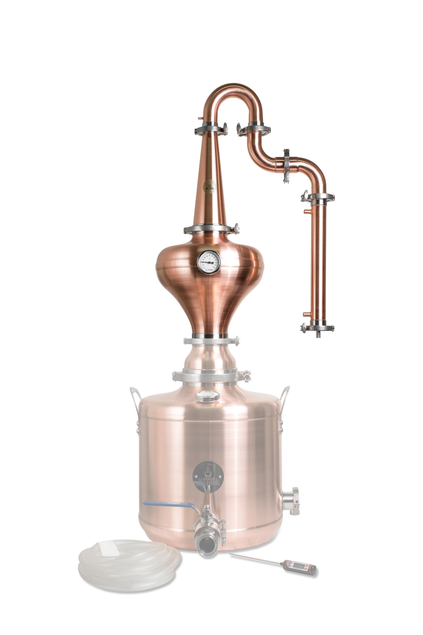 Whiskey Distillation Tower With Copper Helmet «Premium» & Gooseneck